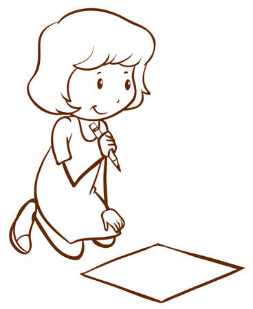 simple girl: Illustration of a simple drawing of a girl writing on a white background Illustration