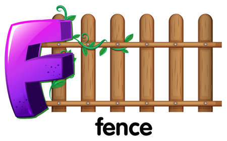 Illustration of a letter F for fence on a white background