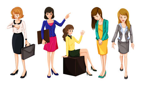 Illustration of the working women on a white background Vector
