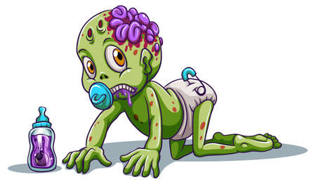 crawling creature: Illustration of a baby zombie on a white background
