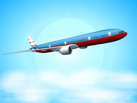 Illustration of an aeroplane in the sky Vector