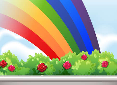 rosaceae: Illustration of a rainbow in the sky