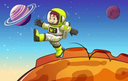 outerspace: Ilustraci�n de un astronauta en el espacio exterior Vectores