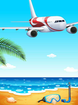 wavelengths: Illustration of a beach with an airplane uphigh Illustration