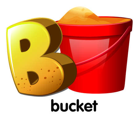 Illustration of a letter B for bucket on a white background Vector