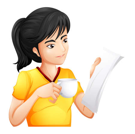Illustration of a girl reading while drinking on a white background Vector
