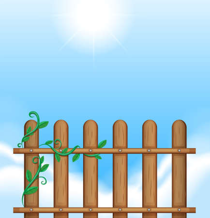 Illustration of a fence with vineplants