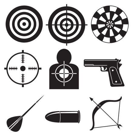 black bow: Illustration of the shooting sports on a white background Illustration