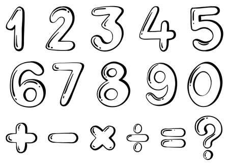 equals: Illustration der verschiedenen numerischen Zahlen auf wei�em Hintergrund