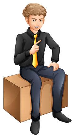 sitting down: Illustration of a businessman sitting down on a white background Illustration