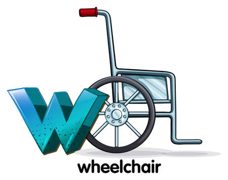 Illustration of a letter W for wheelchair on a white background