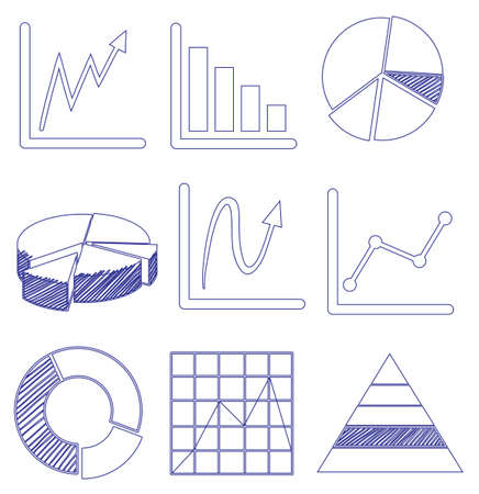 increment: Illustration of the different graphs on a white background Illustration