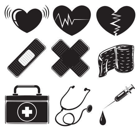 prescribed: Illustration of the medical instruments on a white background