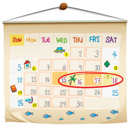 Illustration of a calendar on a white background