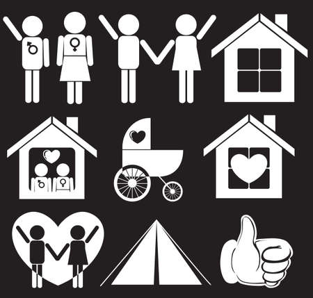 Illustration of a family planning on a black background Vector