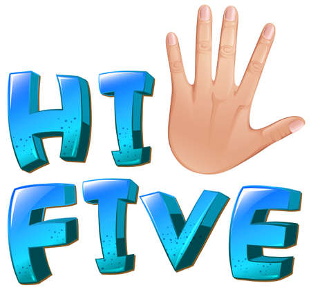 tactile: Illustration of a hi-five artwork with a palm on a white background