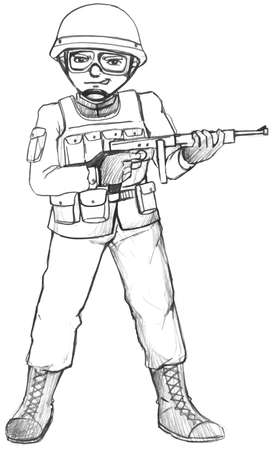 trooper: Illustration of a simple sketch of a soldier on a white background