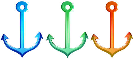 mooring anchor: Illustration of the colourful anchors on a white background