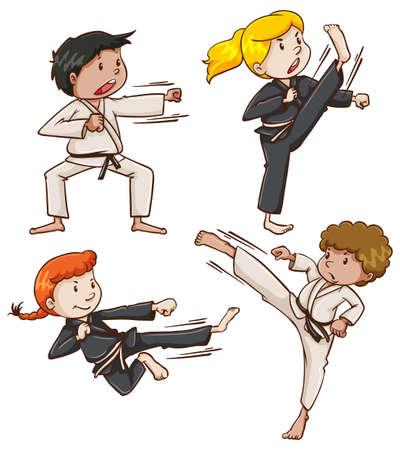 Illustratie van de eenvoudige schets van de mensen die betrokken zijn bij de martial arts op een witte achtergrond