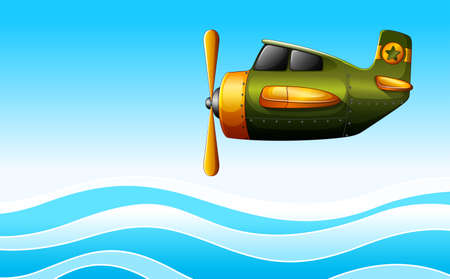 jetplane: Illustration of a green plane above the ocean