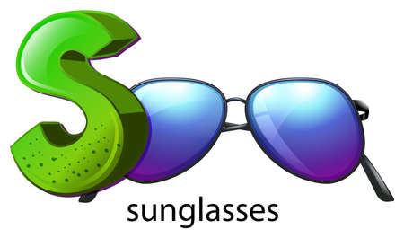 capitalized: Illustration of a letter S for sunglasses on a white background Illustration
