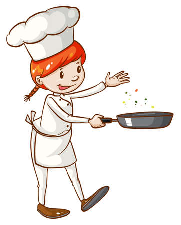 Illustration of a simple sketch of a female chef on a white background Vector
