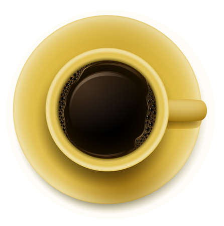 brewed: Illustration of a yellow cup with coffee on a white background