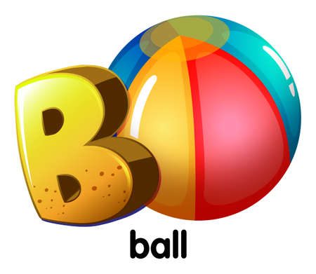 b ball: Illustration of a letter B for ball on a white background