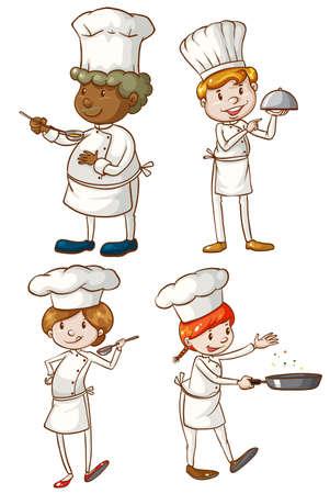 Ilustración de los chefs masculinos y femeninos sobre un fondo blanco