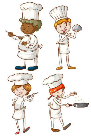 Illustration of the male and female chefs on a white background
