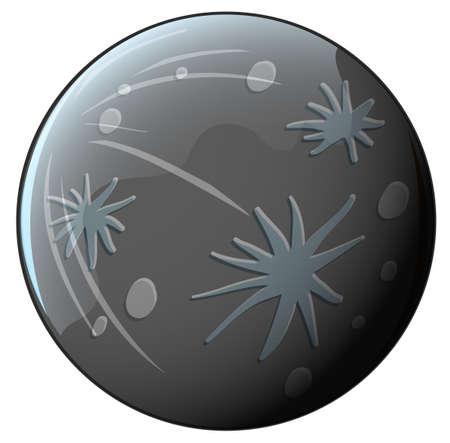 milkyway: Illustratie van een grijze planeet op een witte achtergrond