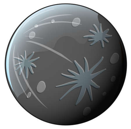 outerspace: Illustration of a grey planet on a white background Illustration
