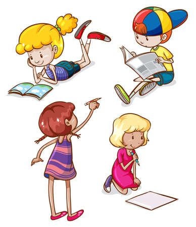little boy and girl: Illustration of the simple sketches of kids reading and writing on a white background