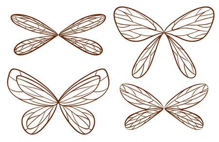 Illustration de simples esquisses d'ailes de fées sur fond blanc