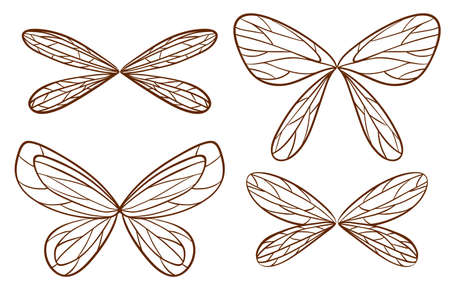 Illustration of the simple sketches of fairy wings on a white background
