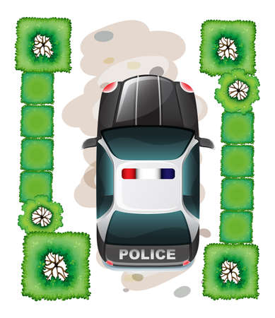 Illustration of a topview of a police car on a white background Vector