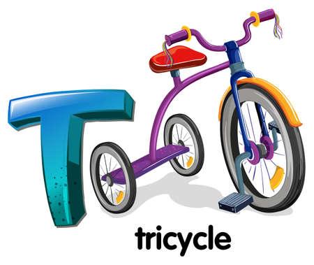 driewieler: Illustratie van een letter T voor driewieler op een witte achtergrond