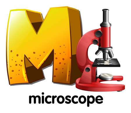 microscopic cellular structure: Illustration of a letter M for microscope on a white background