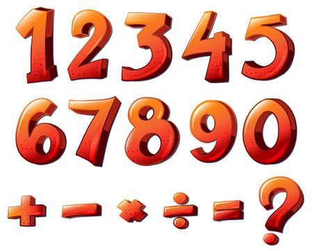 흰색 배경에 숫자와 수학 기호의 그림