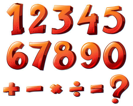 4 7: Illustration of the numbers and mathematical symbols on a white background Illustration