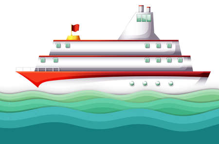 Illustration of a big ship in the ocean