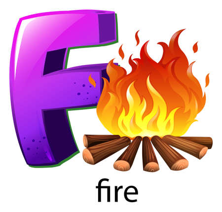 decompose: Illustration of a letter F for fire on a white background