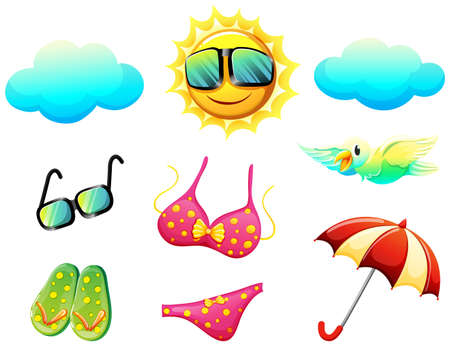 Illustration of the things found during summer on a white background Vector