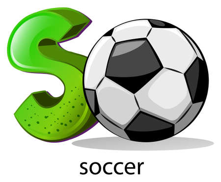 capitalized: Illustration of a letter S for soccer on a white background Illustration