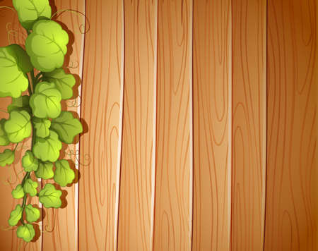 panelling: Illustration of a wooden wall with a vineplant