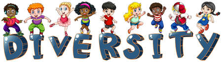 nationalities: Illustration of the kids with different nationalities on a white background