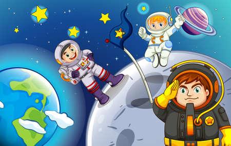 outerspace: Ilustraci�n de los astronautas en el espacio exterior Vectores