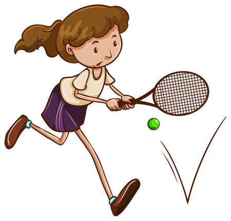 simple girl: Illustration of a simple sketch of a girl playing tennis on a white background Illustration