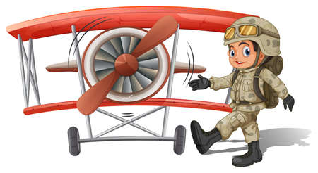 Illustration of a young soldier near the plane on a white background