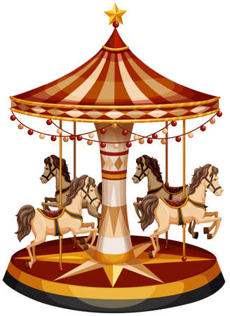 Illustration of a merry-go-round with brown horses on a white background